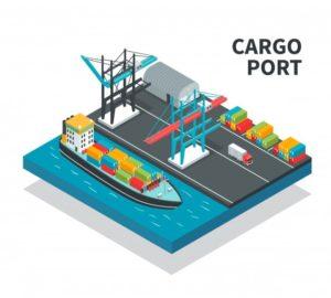 port-fret-installations-chargement-navire-conteneurs-couleur-illustration-composition-isometrique-camion-fret